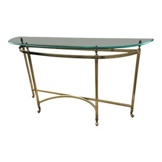 Mid-Century Italian Labarge Brass Profile Base Thick Demi-Lune Glass Top Console Sofa Table For Sale
