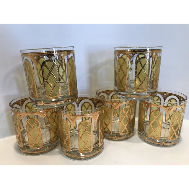 Mid-Century Yellow & Gold Double Old Fashion Glasses - Set of 6 For Sale - Image 5 of 5