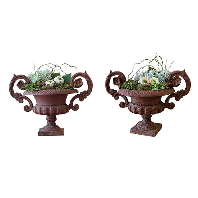 19th Century Potted French Iron Urns - a Pair For Sale - Image 5 of 6