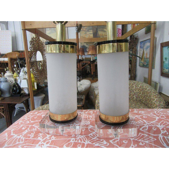 Brass & Lucite Bauer Lamps - A Pair - Image 4 of 8