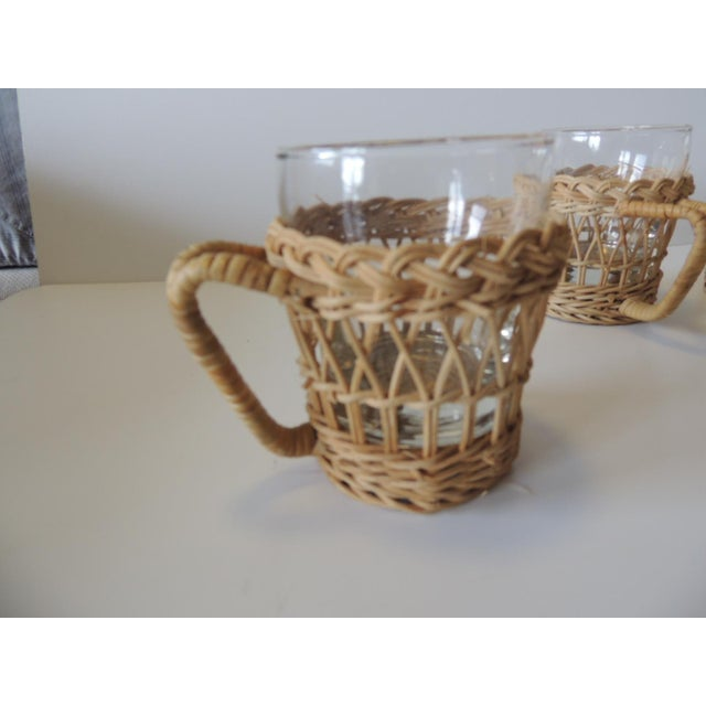 Boho Chic Set of (4) Woven Rattan Holders Drinking Glasses For Sale - Image 3 of 7