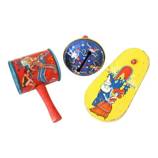 Vintage Kirchhof Tin Toy Noisemakers Life of the Party Favors - Set of 3 For Sale