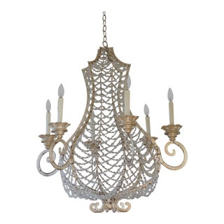 Niermann Weeks Coquille Chandelier in Venetian Silver Leaf Finish For Sale