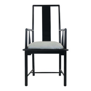 Vintage Mid Century Italian Hollywood Regency Black Lacquer Armchair For Sale