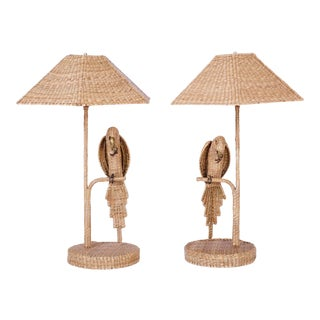 Mario Torros Wicker Parrot Table Lamps - A Pair For Sale