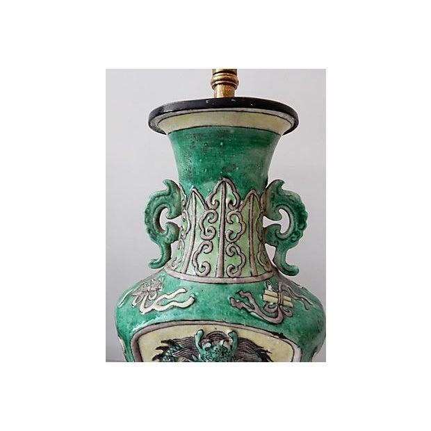 19th C. Porcelain Dragons Lamp - Pair - Image 7 of 10