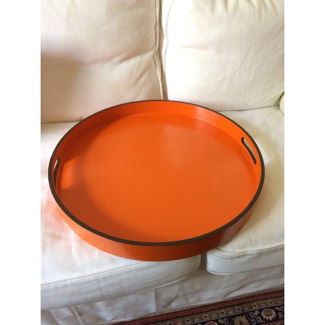 "Orange Hermes Orange Inspired 21"" Round Bar Serving Tray For Sale - Image 8 of 13"