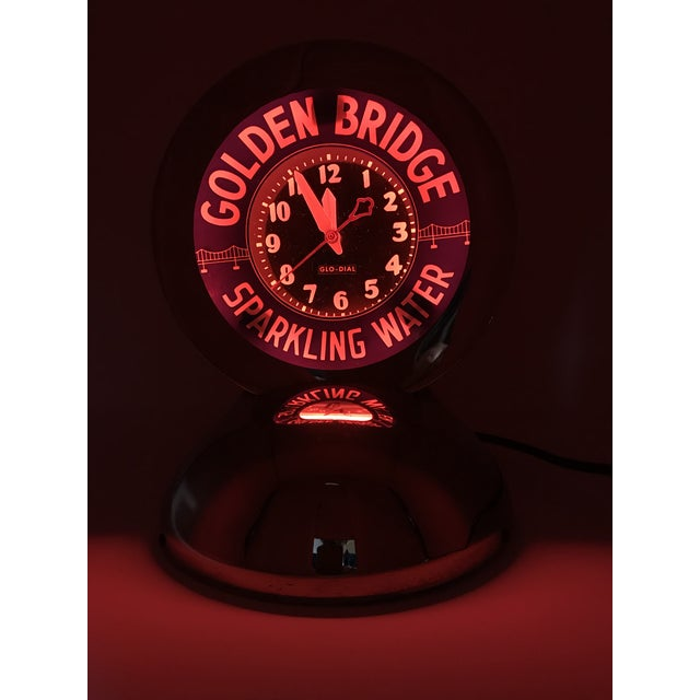 "Art Deco Neon Glo-Dial ""Golden Bridge Sparkling Water"" Advertising Clock For Sale In San Diego - Image 6 of 11"