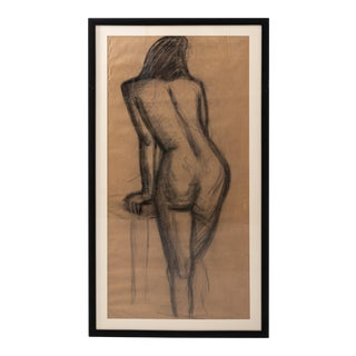 Early 20th Century Female Figure in Charcoal With Black Frame For Sale