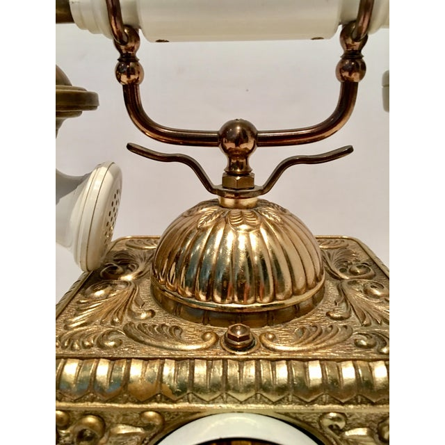 Vintage French Style Brass Telephone For Sale In West Palm - Image 6 of 7