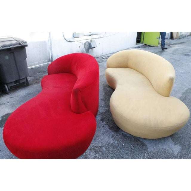 Curved Kidney Chrome Ultrasuede Sofas - A Pair For Sale - Image 10 of 11