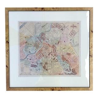 1870 Antique Map of Vienna, Austria in Custom Burlwood Frame For Sale