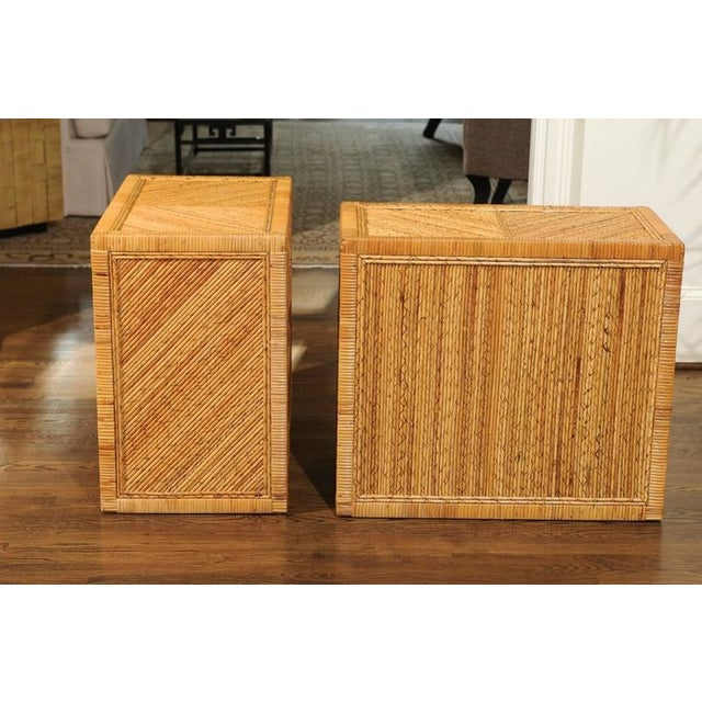 Incredible Pair of Restored Vintage Cane and Reed Bamboo Small Chests For Sale - Image 9 of 11