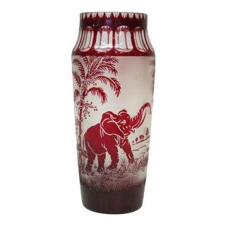 Antique Moser Ruby Art Glass Elephant Vase For Sale