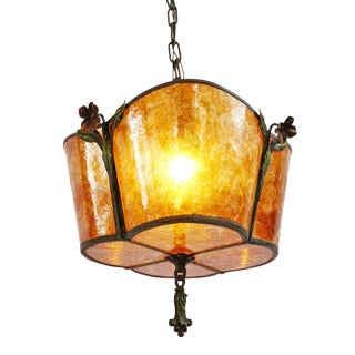 Antique 1920 Mica Chandelier For Sale