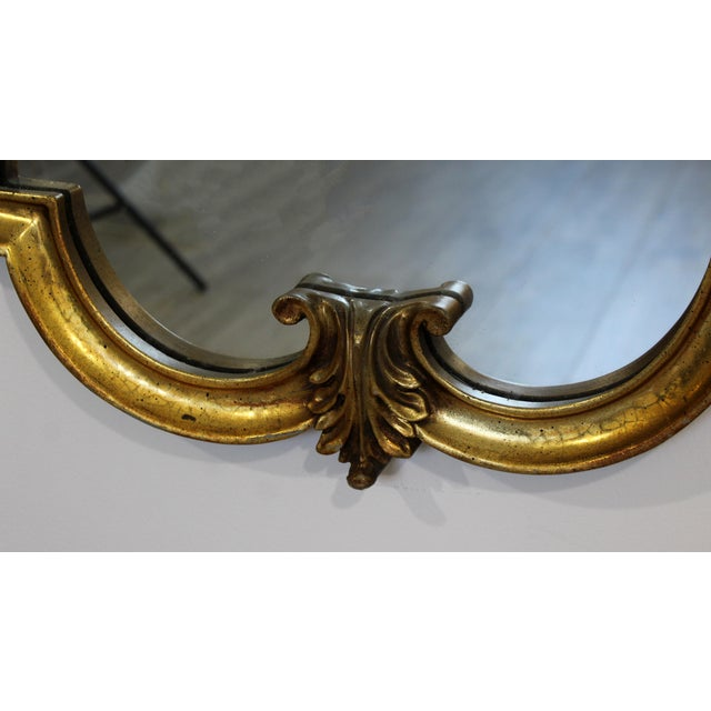 Metal Mid Century Modern Large Hollywood Regency Gold Gilt Wall Mirror La Barge Style For Sale - Image 7 of 8