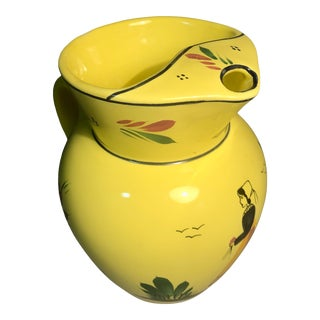 1990s Quimper Soleil Yellow Ice Lip Water Pitcher W/ Hand Painted Breton Lady Signed Hb Henriot Quimper France For Sale