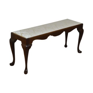 Custom Quality Solid Mahogany Queen Anne Narrow Bench For Sale