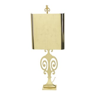 French Neoclassical Maison Charles Brass Lamp 1970s For Sale