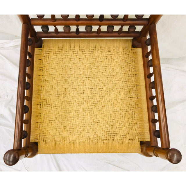 Yellow Vintage Indian Arm Chair For Sale - Image 8 of 13