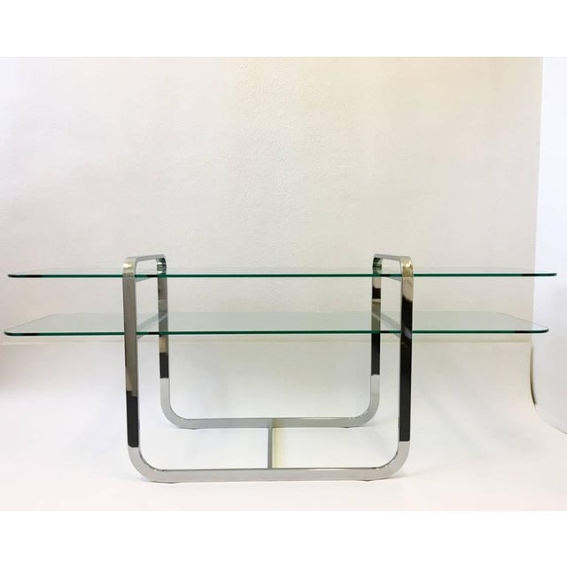 Chrome and Glass Console Table and Pair of Ottomans by DIA - Image 3 of 10