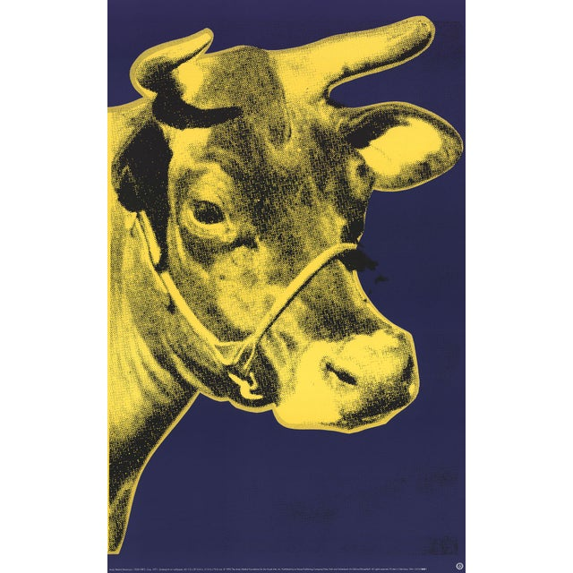 Modern 2000 Andy Warhol Cow Yellow on Blue Background Poster For Sale - Image 3 of 3
