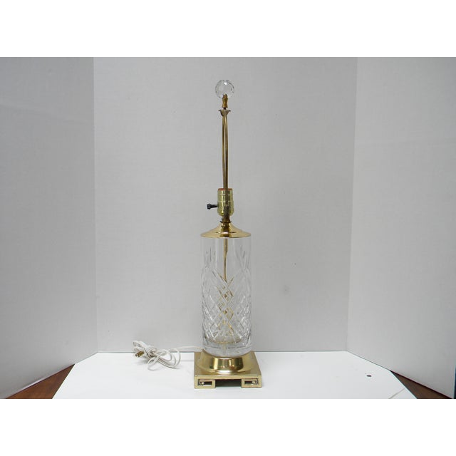 Vintage Brass Greek Key Base & Crystal Lamp For Sale - Image 4 of 7