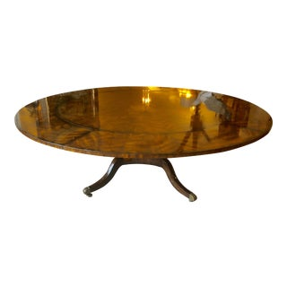 Round Crotch Mahognay Dining Table With Peripheral Leaves For Sale