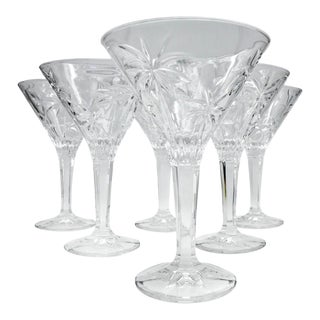 1990s Etched Crystal Martini Glasses - Set of 7 For Sale