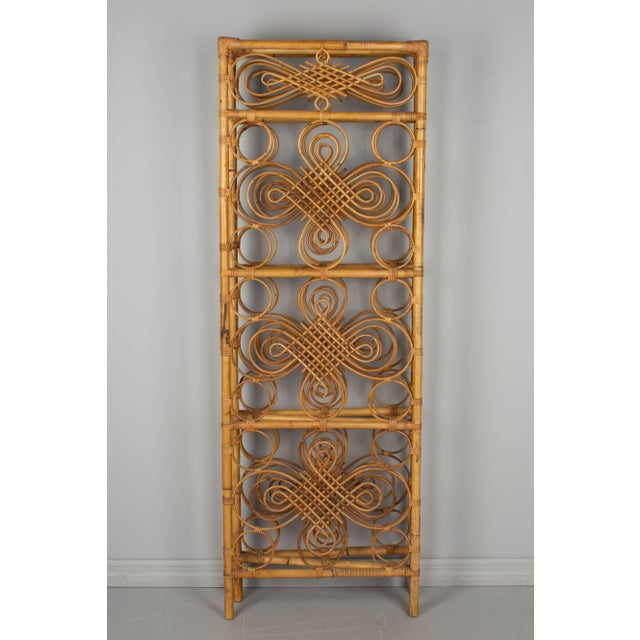 Wicker Mid Century French Riviera Bamboo and Rattan Screen For Sale - Image 7 of 9