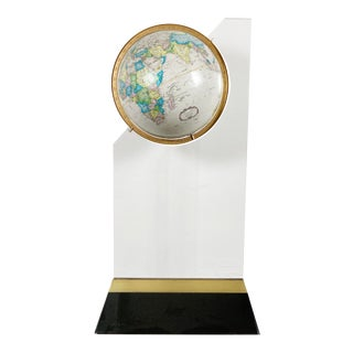 Postmodern Globe on Acrylic and Brass Stand For Sale