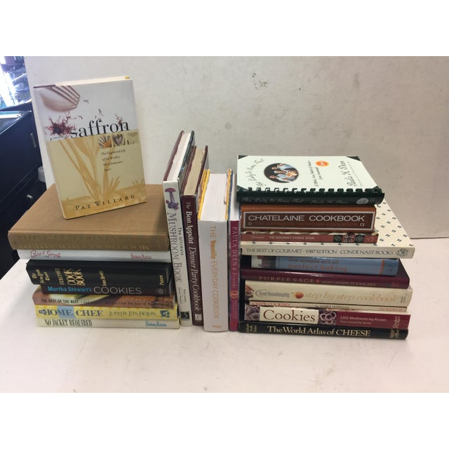"""Deocorative cookbook lot. 22 Books . All in excellent condition. Many great titles and graphics. This measures 27"""" wide x..."""