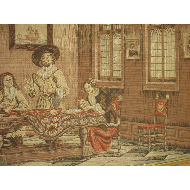 Gold A Long Oak Framed French Tapestry Depicting an Interior Scene, Circa1900 For Sale - Image 8 of 10