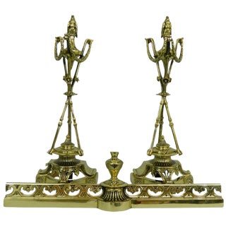 Pair of Chenets or Andirons With a Decorative Eagle Finial Top, 19th Century For Sale