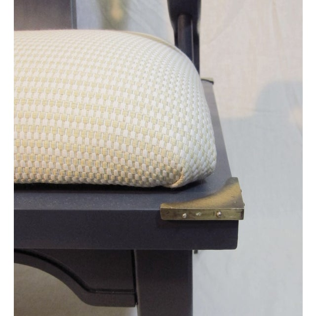 Navy Mao Chair With Brass Trim - Image 5 of 5
