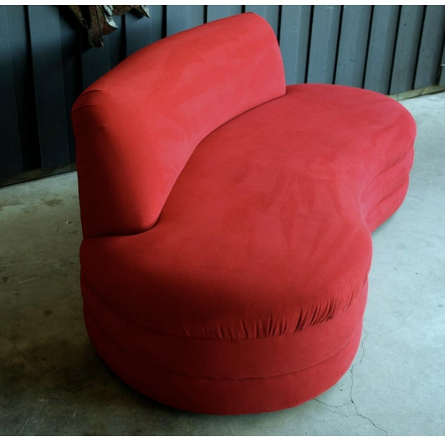 Contemporary Vladimir Kagan Style Red Sofa For Sale - Image 3 of 5