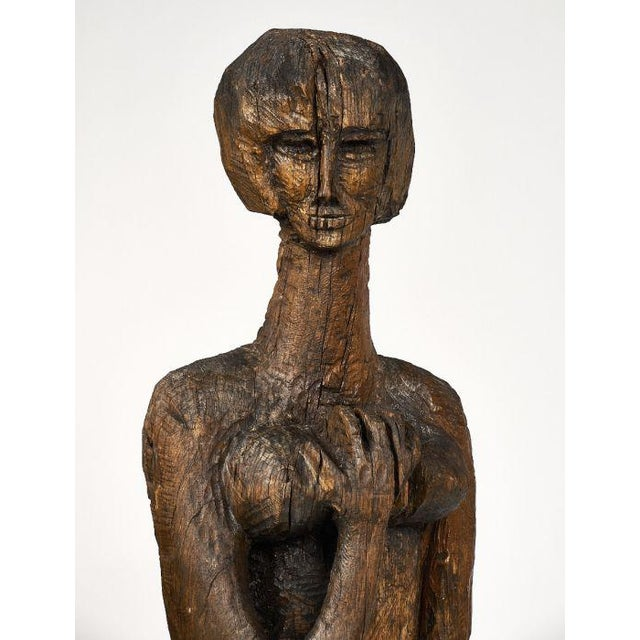 Oak Life Size Statue of Annabel Buffet For Sale - Image 7 of 11