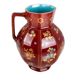 Early 20th Century Large Chinoiserie Red Floral Pitcher For Sale
