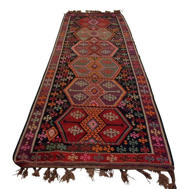 Vintage Anatolian Kars Kilim Rug Large Runner - 4′ × 11′10″ - Image 1 of 9