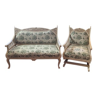 French Victorian Parlor Settee & Arm Chair