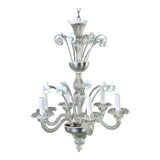 Venetian Murano Glass Daffodil Six-Light Chandelier For Sale