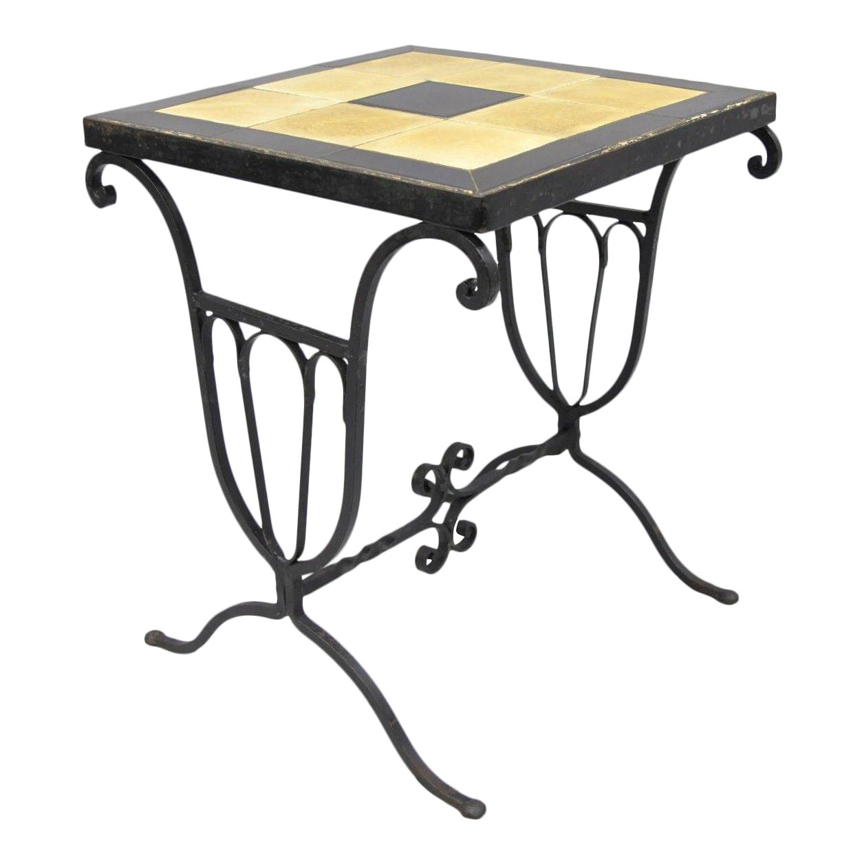 Art Nouveau Wrought Iron Metal Ceramic Tile Top Small Side Table