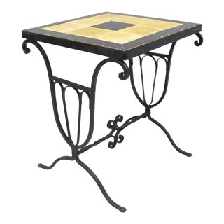 Art Nouveau Wrought Iron Metal Ceramic Tile Top Small Side Table For Sale