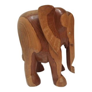 Vintage Carved Wood Elephant Pedestal Statue 11 Inch For Sale