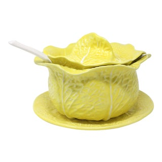 Yellow Cabbageware Soup Tureen With Ladle and Underplate by Secla - Set of 3 For Sale