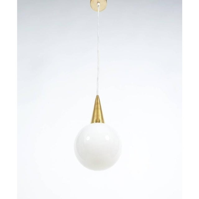 Fine Set of Seven Art Deco Opal Glass Pendants For Sale - Image 4 of 5