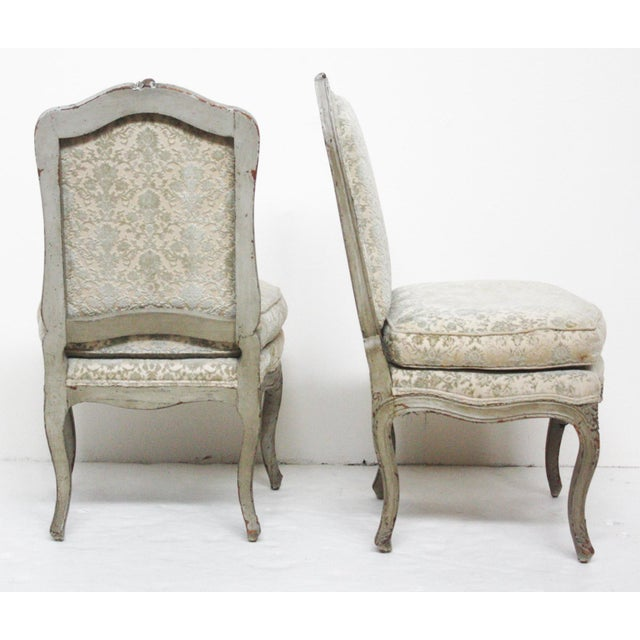 Pair of Period Louis XV Slipper Chairs in Cut-Velvet Damask Upholstery - Image 3 of 7