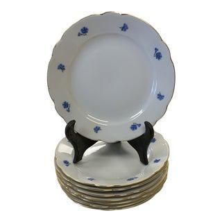 Late 20th Century German Kahla Blue Cornflower Porcelain Bread Plates- Set of 8 For Sale
