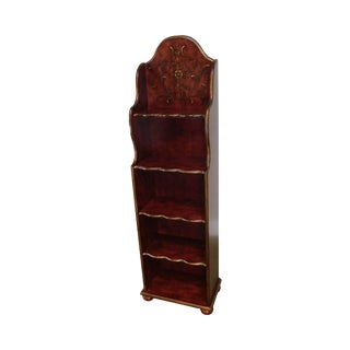 Paint Decorated Narrow Bookcase Etagere Shelf For Sale