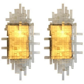 Pair of Glass Metal Sconces by Poliarte. Italy, 1970s For Sale